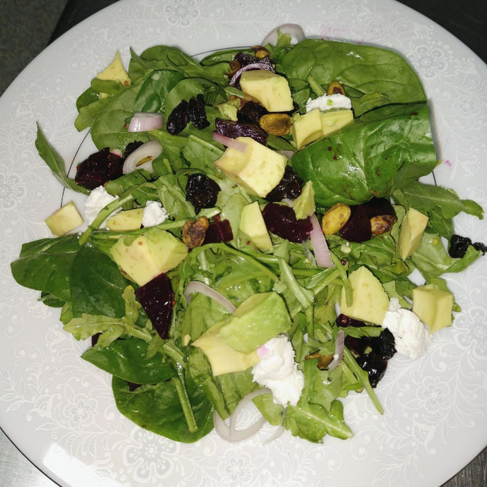 Avocado, Beet And Goat Cheese Salad With Maple Balsamic Vinaigrette