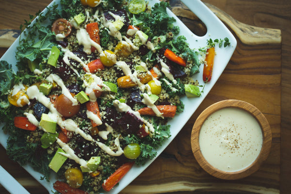 Kale Power Salad with Maple Tahini Dressing