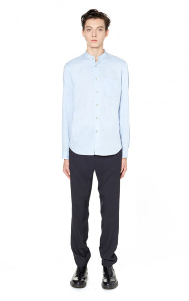 Washed Cotton Band Collar Shirt in Sky