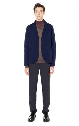 Double-Faced Knit Blazer in Navy