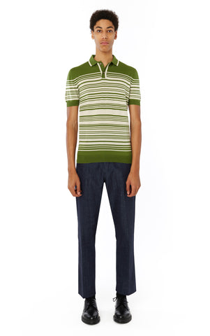 Brooks Striped Polo in Cactus