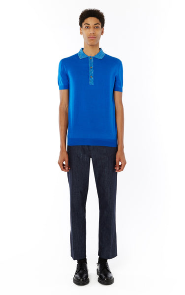 Contrast Trim Polo in Cobalt
