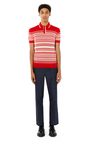 Brooks Striped Polo in Tomato