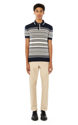 Brooks Striped Polo in Navy