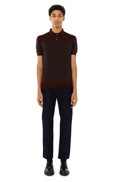 Brooks Striped Polo in Maroon
