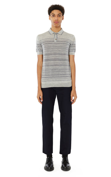 Brooks Striped Polo in Grey