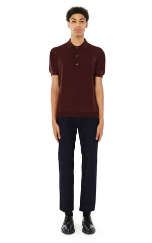 Tipped Trim Polo in Maroon