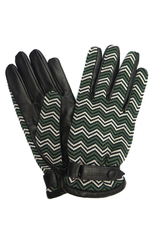 Chevron Jacquard Gloves in Green