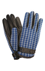 Houndstooth Jacquard Gloves in Blue