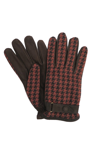 Houndstooth Jacquard Knit and Suede Gloves in Rust