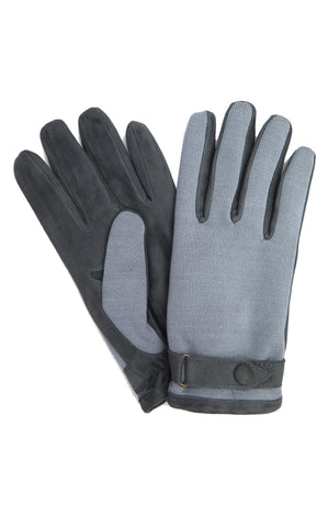 Knit and Suede Paneled Gloves in Grey