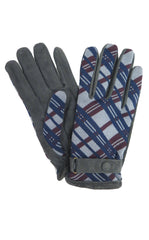 Plaid Jacquard Gloves in Blue
