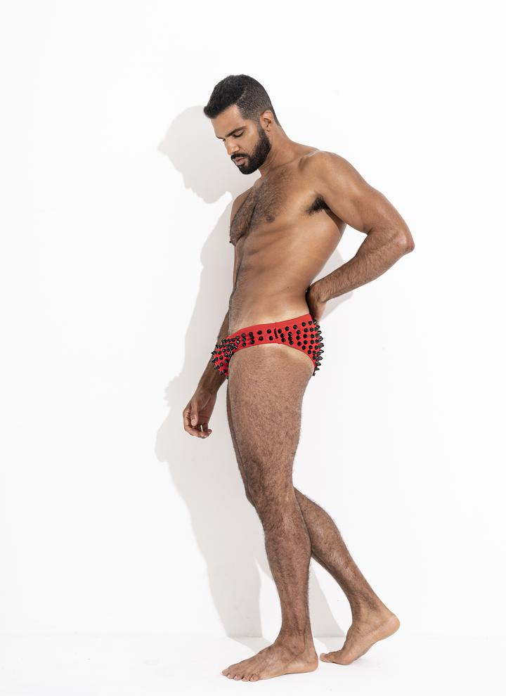 Studmuffin NYC x Hercules New York Spike Speedo - Black on Red