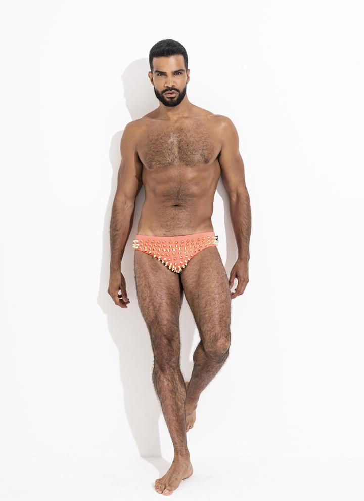 Studmuffin NYC x Hercules New York Spike Speedo - Silver/Gold on Hyper Pink