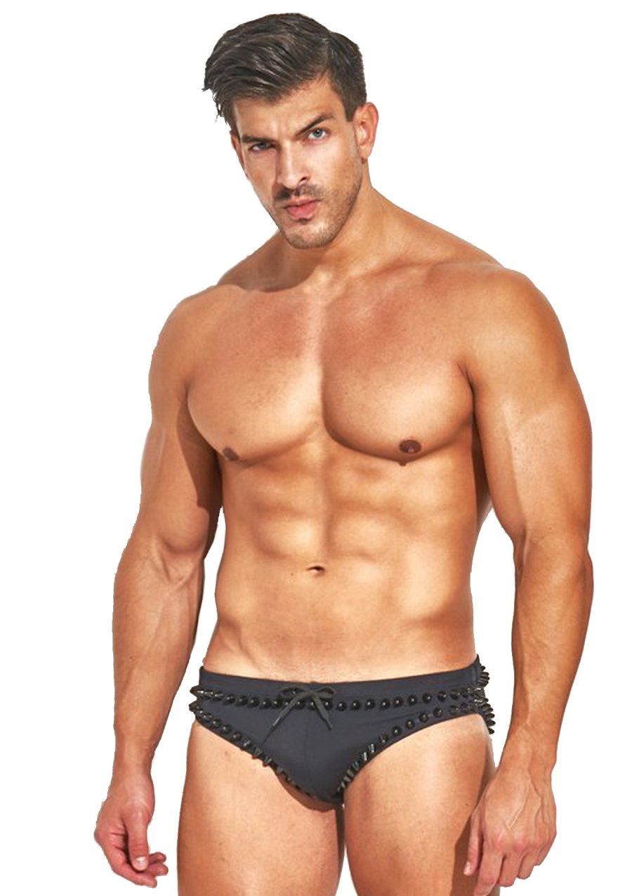 Studmuffin NYC x Hercules New York Spike Speedo - Black on Black Outline