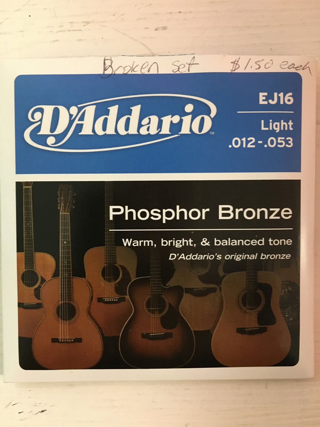 Acoustic Single Strings - D'Addario EJ 16 B String