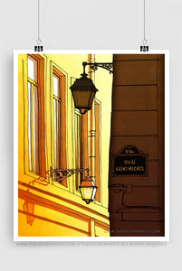 Backlight- Paris inspired artwork featuring streets of Paris in vibrant yellow colour