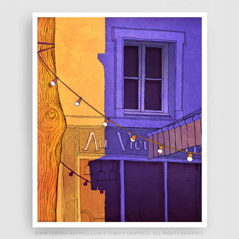 Au Vieux Paris- Paintings for interior decor turning the spotlight on the busy and festive filled Paris on 200 GSM paper
