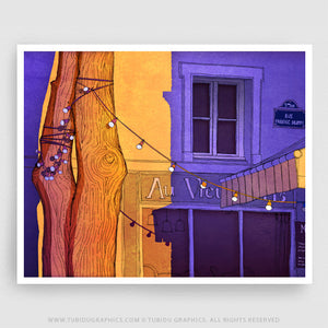 Au Vieux Paris Landscape- Paintings for interior decor turning the spotlight on the busy and festive filled Paris on 200 GSM paper