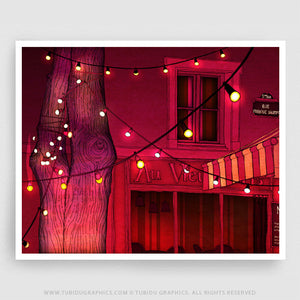 Au Vieux Night- Night themed illustrations inspired from festive-filled Paris printed with archival pigments