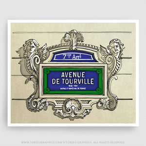 Avenue de Tourville- Inspired illustrations from featured places in Paris available for colour customisation