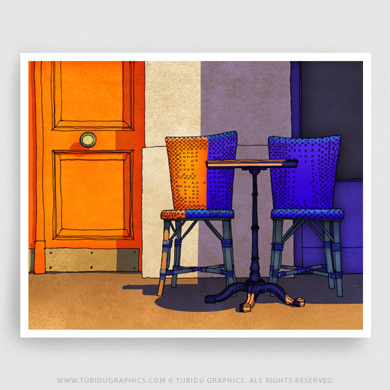 Cafe Camille- Fine arts bringing light to featured cafes of Paris printed on 200 GSM paper with archival ink