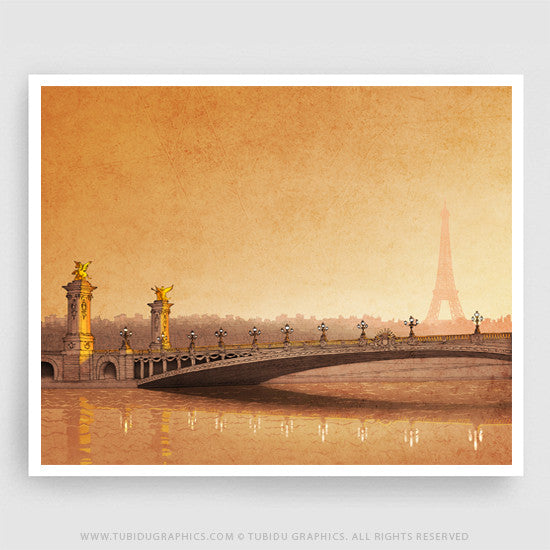 From sun to sun- Bright and vivid canvas of a Paris sunrise with Eiffel tower for interior decor