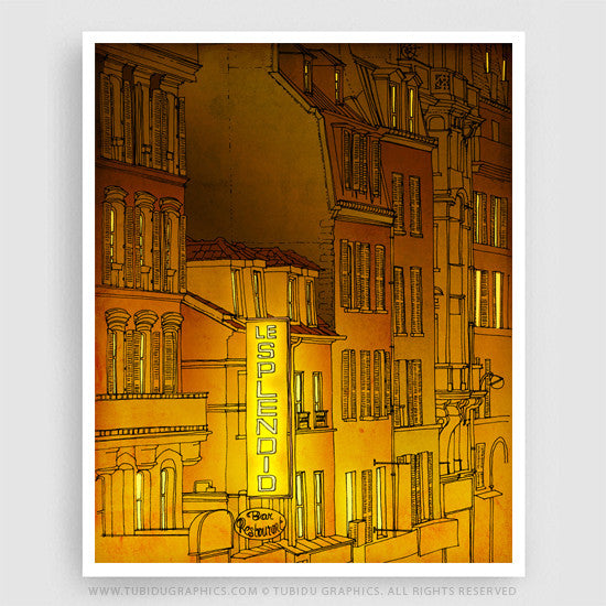 A night themed picture with hues of yellow and brown printed on GSM 200 papers