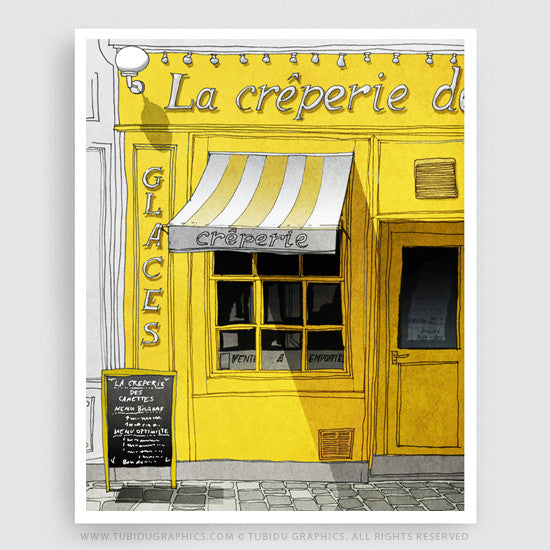 Latest Paris inspired painting featuring the best cafes in Paris; colours are customisable