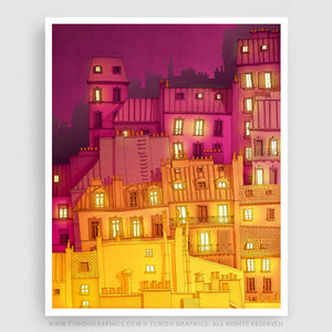 Montmartre at night- Night life inspired illustrations from Giclee print open edition; offer on multiple prints