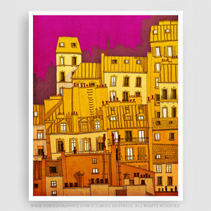 Montmartre- Vivid and colourful illustration of Montmartre with exclusive signature of artist at great price