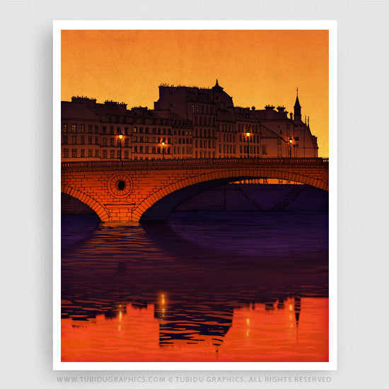 Nightfall- Dark themed illustrations inspired from a calm and serene night of Paris; great offers on multiple prints
