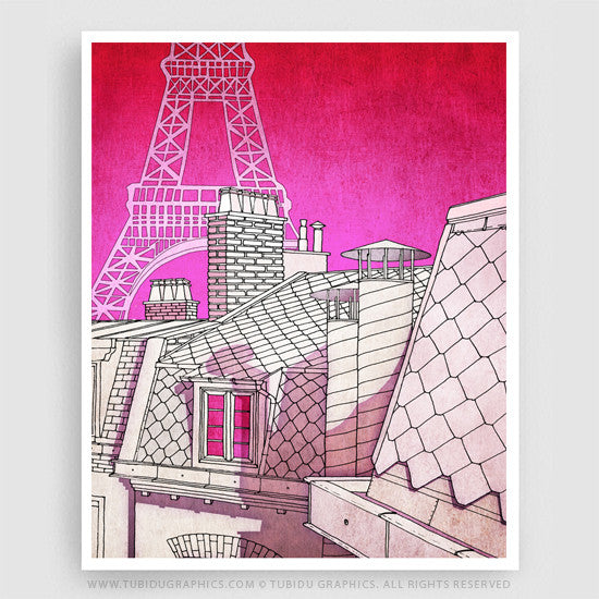Paris Rooftop- Paintings for interior decor in affordable price showcasing a scintillating view of Paris from a rooftop