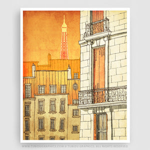 Paris Window- An illustration that lightens up the interior with a scintillating Paris view