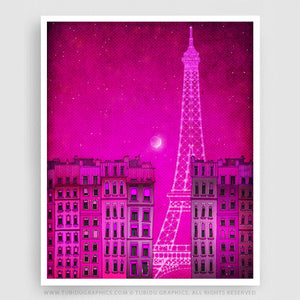 Eiffel Tower Pink Version- Most attracted feature of Paris in a canvas for decorating living room; great discount on multiple print