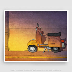 Purple Vespa- Illustrations inspired from streets of Paris featuring purple themed Vespa; colours can be customised