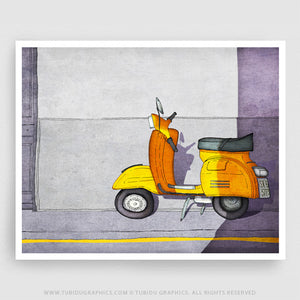Purple Vespa- Paris inspired illustration featuring a Purple Vespa; Perfect for bike lovers to decorate their room
