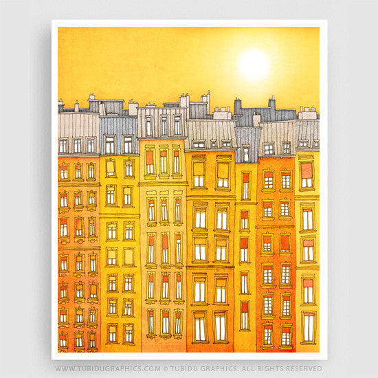 Yellow Facade- Exclusive Paris illustration themed paintings from Giclee print open edition