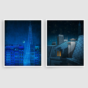 SET OF TWO PARIS ILLUSTRATION PRINTS (TS205)