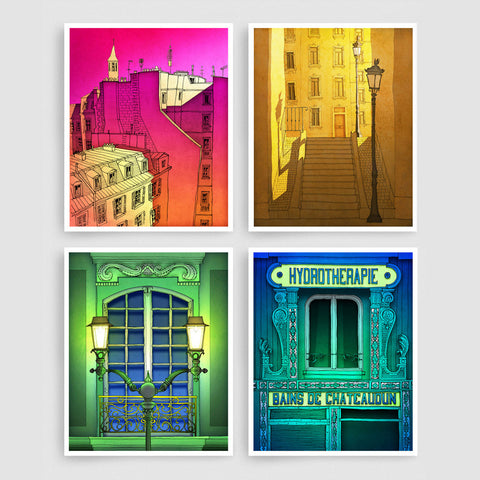 SET OF FOUR PARIS ILLUSTRATION PRINTS (TS401)