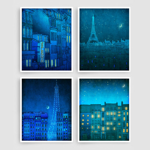 SET OF FOUR PARIS ILLUSTRATION PRINTS (TS402)