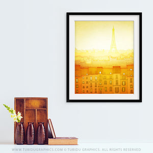Morning Hope- Paris inspired painting with bright, sunny morning theme