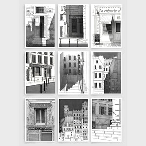 PARIS POSTCARD SET - B&W