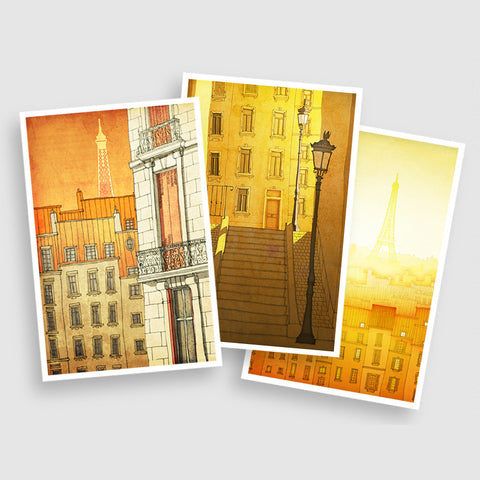 PARIS POSTCARD SET - YELLOW