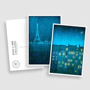 PARIS POSTCARD SET - BLUE