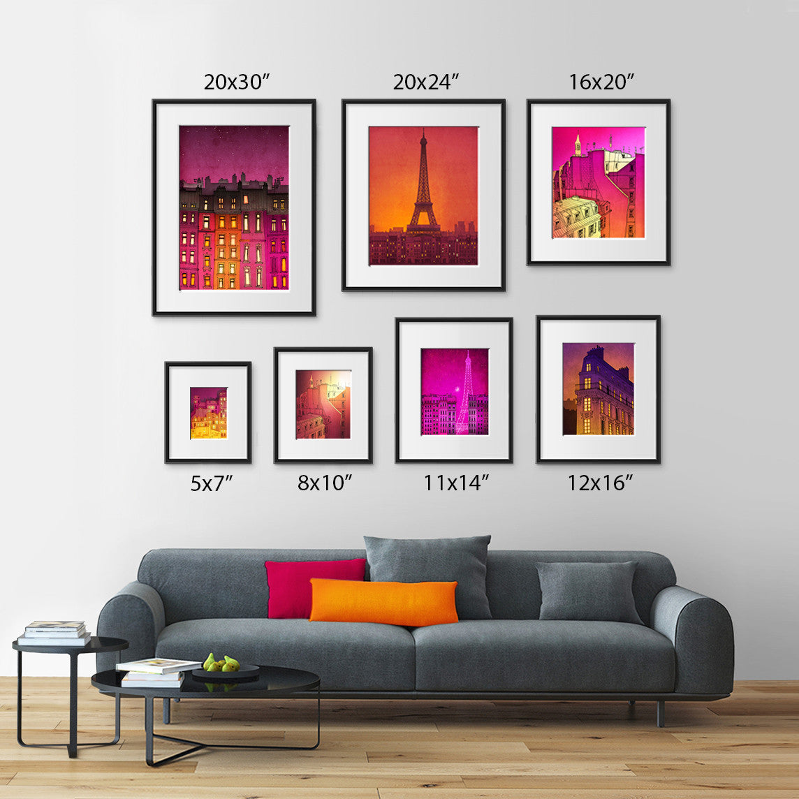 Morning Hope- Paris inspired illustration in bright, purple themed painting for interior makeover