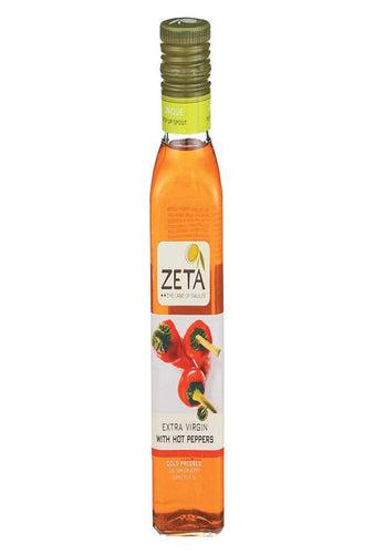 Zeta The Land Of Galilee, Oil Olive Extra Virgin With Hot Peppers, 8.45 Fl Oz