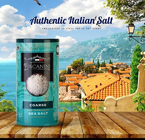 Tuscanini, Coarse Mediterranean Sea Salt, 16oz, From Sicily Italy, (2 Pack), Total of 2LB