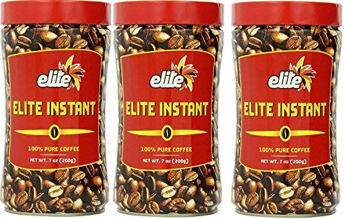 Elite Instant Pure Coffee, 7ounce Tin, (3 Pack)