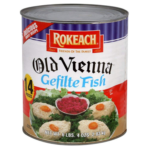 "Rokeach Old Vienna Gefilte Fish ""14 Count Bulk 6lb 4oz Can"" Delicious Sweet Recipe"
